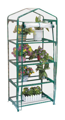 Zenport - Four Tier Mini Greenhouse 69x49x157cm - Zenport SH3205 Four Tier Versatile Mini Greenhouse for Protected Patio, Balcony Plant Growing and Gardening. Size: 27-Inches (69CM) X 19-Inches (49CM) X 62-Inches (157CM) Takes up very little space, but gives your plants a great early start! Offers an economical means of seed propagation, plant growing and display. Suited to sheltered positions such as patios and balconies. Manufactured from waterproof transparent cover, creating the optimal growing conditions. Create warmth and insulation, whilst allowing air, moisture, and sunlight to filter through. Roll-up zipped panel for easy access, adjustable ventilation and humidity control. Sturdy tubular steel frames with green painted finish.