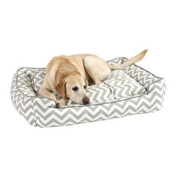 "Ballard Designs - Lounge Dog Bed - Inserts are overstuffed and channeled to prevent flattening or condensing. Filled with an eco-friendly green fiber. When it comes to serious napping, discerning canines can be divided into two groups: Curlers & Sprawlers. This luxurious Lounge Dog Bed is made for the ""find your perfect curl-up spot"" crowd. Cushy lift-out cushion has machine-washable, zip-off cover.Lounge Dog Bed features:. ."