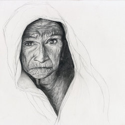 Old Woman Pencil Drawing Portrait #1 - Fascinated by wrinkles and the challenge of capturing them, drawing portraits and images of the wise and elderly is my favorite way to put pencil to paper. This is a reproduction print of an original pencil drawing.