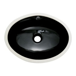 """Kingston Brass - Black China Undermount Bathroom Sink with Overflow Hole - Finest china material made undermount sink is perfect way to bring a bright new look to your bathroom.; High chemical and thermal shock resistance; Stain resistant and easy-to-clean; Standard 1-7/8""""-�recessed drain hole; For undercounter installation; Drain not included; Material: Ceramic; Finish: Black Finish; Collection: Marina"""