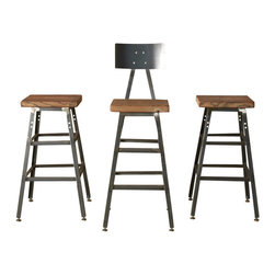 "Urban Wood Goods - The Boston Barstool With Steel Back, 25"" - Take your seat: While technically called a bar stool, this seating is actually your personal work stool, your grab-breakfast-at-the-counter stool, your chop-veggies-at-the-kitchen-island stool and yes — your invite-friends-over-for-a-drink bar stool. Choose from three heights and two styles and make it your own."