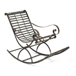 Zentique - Preston Rocking Chair - The Preston Rocking Chair features a rustic iron frame with elegant curved arms.