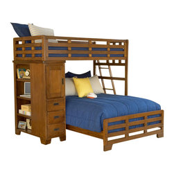 American Woodcrafters - Heartland Twin Over Full Student Loft Bed - NOTE: ivgStores DOES NOT offer assembly on loft beds or bunk beds. Three drawer chest with one stationary shelf. Bookcase with four stationary shelves. Five step ladder with metal corner brackets under the corner of each step. Tenon and mortis construction. Made from select hardwoods and veneers. Spice finish. Assembly required. 14.5 in. deep drawers. Bed: 80 in. L x 43.5 in. W x 72 in. H (216.3 lbs.). Optional trundle: 76 in. W x 40.75 in. D x 12.75 in. H (79 lbs.). Bunk Bed Warning. Please read before purchase.Heartland, ruggedly constructed furniture from American Woodcrafters, will withstand sleepovers and adventures with piles of friends.