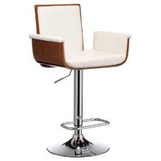 Premier Housewares Adjustable Bar Stool with Walnut Wood and Leather Effect Seat