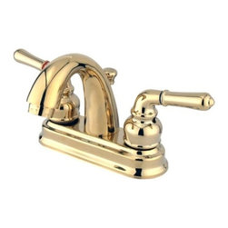 """Kingston Brass - Two Handle 4"""" Centerset Lavatory Faucet with Retail Pop-up KB5612NML - This bathroom faucet features a whimsical feel with its sweeping spout and graceful lever handles. This faucet has a deck mount setup and features a 4"""" centerset installation. The body is fabricated from solid brass for durability and long-lasting use. The color finish is made of polished brass for that golden reflective shine, as well as resisting scratches, corrosion and tarnishing. The spout has a reach of 3-5/8"""" and a height of 5"""". The handles allow for easy management of water volume and temperature. The faucet operates with a washerless cartridge valve for droplet-free functionality with the water measured 2.2 GPM (8.3 LPM) and a 60 PSI maximum rate.  An integrated removable aerator is inserted beneath the spout's head piece for conserving water flow.  A push-up drain in a matching finish is included. All mounting hardware is included and standard US plumbing connections are used. A 10-year limited warranty is provided to the original consumer.. Manufacturer: Kingston Brass. Model: KB5612NML. UPC: 663370034107. Product Name: Two Handle 4"""" Centerset Lavatory Faucet with Retail Pop-up. Collection / Series: NAPLES. Finish: Polished Brass. Theme: Classic. Material: Brass. Type: Faucet. Features: Drip-free washerless cartridge system"""