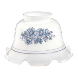 "Renovators Supply - Lamp Shades Blue Glass Lamp Shade 3 1/4"" Fitter - Lamp Shades: Our Blue-Grey Floral Lamp Shades are delicate & graceful & will enhance any room with soft lighting. This shade measures 4 3/4"" high with a top diameter of 2 7/8"" & a bottom diameter of 7 3/4""."