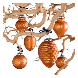 Fiona Mercury Glass Ornaments - Amber - Light up your holiday decor with these beautifully hand-crafted glass ornaments.