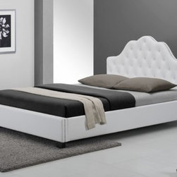 DG Casa - Montego Platform Bed - The Montego bed makes a dramatic statement with its contemporary interpretation of classic styling. Completely upholstered in durable and soft white synthetic leather. Features: -Button tufted headboard, with nail head trim on headboard & footboard.-Arch shaped headboard with designer nail head trim.-Platform bed - no box spring required.-Includes slat support system.-Fully upholstered in durable and easy to maintain synthetic leather.-Distressed: No.Dimensions: -Overall Product Weight: 173 lbs.Warranty: -1 Year warranty.