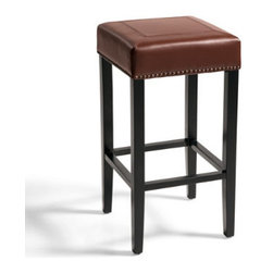 Grandin Road - Callie Leather Bar Stool - Backless, mitered-leather bar stool available in two seat heights. Handsome, hand-tacked nailhead trim. Comfortable seat. Solid-hardwood frame. Dark espresso wood finish. Stay fully engaged in the conversation no matter which way it turns, with the freedom of movement afforded by our handsome Callie Leather Bar Stool. But Callie's classic backless design is only the beginning: Masterfully mitered leather and individually hand-tacked nailhead trim instills it with a level of design lesser stools simply don't possess.  .  .  .  .  . Arrives fully assembled . Imported.