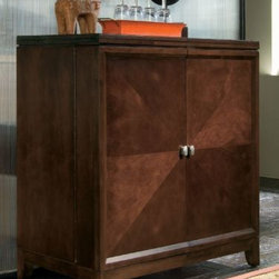 """American Drew 912-589 Flip Top Bar Tribecca - Flip Top Bar - American Drew Tribecca Collection 912-589This Flip Top Bar by American Drew has a black laminated flip top that is its innovative special feature. The square shaped cupboard is extremely spacious to store your belongings. The radical brown hue makes it a classic piece. Made up of excellent quality timber this product is highly durable. Having a moderate size it becomes easily movable. The surface at the top can be used for opulent display of your ornamentals. Robust and firm American Drew 912-589 stands segregated from the rest.Features:Black Laminate on Flip Tops2 Doors with Bottle StorageWine Storage1 Drawer on Right SideStemware ShelvesTop Opening: 18w x 16d x 8hBottom Opening: 18w x 16d x 15hThis Price Includes:Flip Top BarItem:Weight:Dimensions:Flip Top Bar238 lbs28"""" W X 22"""" D X 43"""" HManufacturer's Materials:Cherry veneers & select hardwoods"""