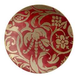 """L'Objet - L'Objet Fortuny Dessert Plates Uccelli Red Set/4 - The artisans of Venice inspire us. Their carefully guarded secrets of technique have been handed down directly from the ancient world, one generation of skilled hand-crafters to the next. There is one who especially speaks to the heart of L'Objet - the legendary fashion and textile designer Mariano Fortuny - revealing a deep and kindred connection that transcends time. It sets the pattern and pace of this collaboration.Earthenware Set of 4 Hand Applied 24K GoldHand WashMeasures: 8"""" Diameter. Luxuriously Gift Boxed. L'Objet is best known for using ancient design techniques to create timeless, yet decidedly modern serveware, dishes, home decor and gifts."""