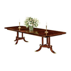 """Henkel Harris - Henkel Harris 76 x 46 Rectangular Dining Table - Every Henkel Harris piece of home furniture exhibits the same degree of craftsmanship utilizing the finest materials during their manufacturing process. As a result it is no coincidence that you need to exert very little effort to preserve its beauty once it arrives at your home. If you understand the nature of the wood and finish of your furniture and take heed to these simple recommendations for its maintenance you will enjoy your Henkel Harris furniture investment for a lifetime. The Henkel-Harris furniture legacy started from humble beginnings. After serving in the Second World War Carroll Henkel and his wife Mary made the decision to enter into the furniture business. Knowing very little about the craft the Henkels decided to begin this business venture with their friend John Harris. In 1946 The Henkels rented their first building and began making furniture. Since they were so inexperienced they spent countless hours studying woodwork and learning all that they could about the craft. Mary and Carroll would spend hours viewing antique furniture and attempting to recreate the same type of woodwork and quality that these pieces possessed. While trying to gain a foothold the Henkels also began working as furniture repairmen. This opportunity allowed them to perfect their finishing techniques and gave them a greater understanding of the antique furniture that they regarded so highly. The experience gained from this endeavor led to the creation of the acclaimed Henkel Harris finish which is still regarded for its high clarity durability and overall quality. Features include Extends to 124"""" with Three 16"""" Apron Fillers. Swirly figured mahogany veneer top with ribbon stripe border tulip wood inlay and holly and anigre separators. Fillers are numbered and matched to each table. Three fluted columns on triangular base plate supported by three sweeps with brass toe caps. Wood table slides.."""