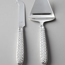 """Lauren Ralph Lauren - Lauren Ralph Lauren Two-Piece """"Equestrian Braid"""" Cheese Knife Set - A classic pattern for classic presentations. 18/8 stainless steel. Set includes two knives for different cheeses, as shown. Hand wash. Imported."""