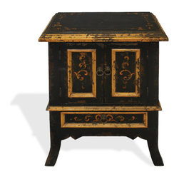Daniela Nightstand, Black Baroque with Scrolls - Daniela Nightstand, Black Baroque with Scrolls