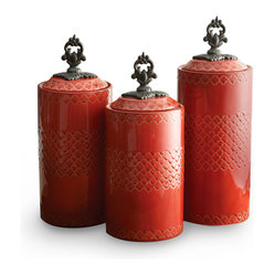 Jay Import Co. - Canisters, Set of 3, Red - Give your dry goods an upgrade with this set of earthenware canisters. These artistically designed containers will bring beauty to any countertop, hiding away your rice and coffee while keeping it well within reach.