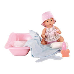 Gotz - Gotz Aquini Girl 9 Piece Baby Doll Bath Set Multicolor - 1453128 - Shop for Dolls from Hayneedle.com! Play with your daughter as she bathes and cares for the Gotz Aquini Girl 9 Piece Baby Doll Bath Set. Ready to take a bath this baby doll features a cute summer outfit with matching hat pacifier bathtub bath sponge pacifier towel bottle and diaper to make bath time fun! Her sweet expression will capture your little girl's heart while her movable arms and legs add a realistic touch. Made for children age three and up the Gotz Sleepy Aquini doll is well-crafted and made to last.All Gotz dolls are made with attention to detail and great care while promoting the healthy development of your child. Clothing features button-holes pockets and embroidery to help develop fine motor skills while the lack of electronic functions encourages your child's imagination learning recall thinking perception and empathy. Made with the highest-quality material dolls feature only the highest-quality natural-looking synthetic hair that is rooted to scalp and can be washed brushed and styled. Infant baby dolls to maintain a realistic look have beautifully detailed painted hair. Eyes are either inserted by hand or painted on and specially produced lashes enhance the natural looks of the dolls. Gotz dolls have either complete vinyl bodies or soft fabric bodies filled with wool and fine granulates. All items of clothing are washable and can be ironed so they'll stay looking fresh for years to come.About Gotz DollsThe Gotz line of dolls took off when Marianne Gotz began making dolls in Germany in 1950. She wanted the dolls to be as lifelike as possible and so she carefully sculpted their faces designed realistic clothes for them and even made their hair so that it could be washed and styled. Young children and collectors alike fell in love with the dolls and for over 60 years Gotz dolls have been continuously developed and improved so that they become the children's best playmate. The var