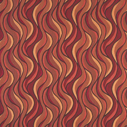 Red Orange And Gold Abstract Contemporary Upholstery Grade Fabric By The Yard - This jacquard fabric is styled contemporary, and is woven for enhanced durability and appearance. This fabric can be used for all indoor residential upholstery uses.