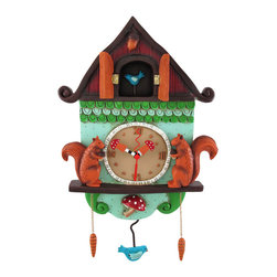 Allen Designs - Allen Designs 'Cuckoo Bird' Wall Mounted Pendulum Clock - This cuckoo style clock is a wonderful accent to any decor! Made of cold cast resin and lovingly hand painted, it measures 11 1/2 inches tall, 9 inches wide, and 2 inches deep. Attention to detail is what makes each of these clocks special, and the tiny mushroom hands and bluebird pendulum add a whimsical quality to this piece of art. The doors on the top open to reveal a little bird, whose movement is countered by the swinging pendulum, and the pinecone accents add just the right touch. The clock features quartz movement and runs on 1 AA battery (not included). It mounts to the wall with a single nail or screw.