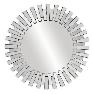 Bassett Mirror - Bassett Mirror Baka Wall Mirror - Zipper-like, alternating rays of crystal glass give this sunburst mirror a unique facade. The elegance of the shimmering, reflective surfaces make this wall mirror a perfect addition to your bedroom vanity, entryway or living room.