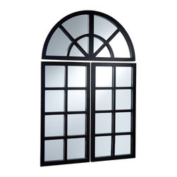 Holly & Martin - York 3 pc. Mirror Set - Made up of three separate parts, this decorative windowpane mirror can bring light to any room in your home. Each side panel features eight small square mirrors and the top panel completes the design with four arched mirrors. Place the three panels close together or space them out, either way they will give much-needed life to an empty space. The sleek pine frame is painted black with slight rub-through for character that adds to the appeal, helping radiate the living space. Try this mirror set in your living room or home office for a brand new look that you are sure to love.