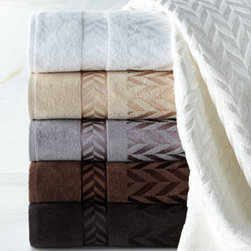 "Austin Horn Classics - Austin Horn Classics Chevron Jacquard Towels - A combination of cotton and viscose yarns gives these 650-gram jacquard towels their luscious sheen and luxurious feel. From Austin Horn Classics. Select color when ordering. Bath towel, 27"" x 54"". Hand towel, 18"" x 28"". Face cloth, 13""Sq. Machine...."