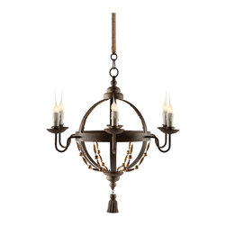 Kathy Kuo Home - Atlas Globe French Country Tassel 6 Light Chandelier - The Atlas Chandelier combines rustic with chic. Its adorable details make this chandelier as impactful as its larger peers.