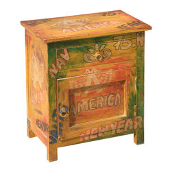 Pop Art Mod Americana Mango Wood Night Stand End Table Cabinet - The 60's will never really fade away, especially with our Mod American Pop Art End Table Cabinet. It's built by hand with solid Mango Wood, a hardwood grown as a sustainable crop, so it's also eco-friendly.