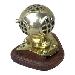 "Handcrafted Model Ships - Solid Brass Divers Helmet on Wood Base 4"" - Deep Sea Diving Helmet - The Solid Brass Divers Helmet on Wood Base 4"" is great for nautical desktop decor or sits well on a mantle. The diver's helmet has been constructed from solid brass and is durable and resistant. The divers helmet is a miniature version of our bigger divers helmet. The Brass Diver's Helmet rests nicely on a high quality solid hardwood base that has a polished finished."