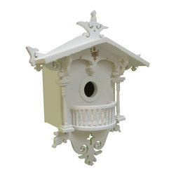 Home Bazaar - Cuckoo Cottage Birdhouse for Bluebirds - Attract bluebirds to your yard with this cuckoo clock–inspired birdhouse. You will delight in the carved wood details, and your winged friends will appreciate a safe place to rest and nest. The back wall is even removable for easy cleaning, and the mounting hardware is included.