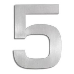 Blomus - Signo Stainless Steel House Number 5 - Includes mounting kit. Product is elevated from surface. Includes template, 2 pegs and set screws. Made of stainless steel, matte finish. 1-Year manufacturer's defect warranty. 5.93 in. H