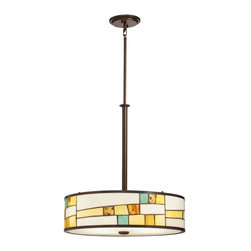 Kichler - Kichler Mihaela Drum Shade Pendant Light in Bronze - Shown in picture: Kichler Inverted Pendant 4Lt in Shadow Bronze