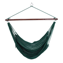 "Caribbean Hammocks - Jumbo Hammock Chair 55"" Wide Free Suspension Kit, Green - This is truly the king of the 'Jumbo' Hammock Chairs. Most other 'Jumbo' chairs are 47"" wide, but this Jumbo Hammock Chairs spreader bar is 55"" wide. Why? Well the wider the spreader bar, the more comfortable it is. When making comparisons make sure to check the width of the Hammock Spreader Bar."