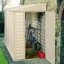 Duramax Sidemate Vinyl Shed - The Duramax 4x8 SideMate as its name suggests will fit neatly against the side of your home, a boundary fence or wall. Like all Duramax vinyl sheds the walls are reinforced with metal columns which provide strong and secure fixing points for shelving.