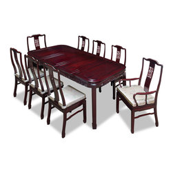 "China Furniture and Arts - 80in Rosewood Dragon Design Dining Table with 8 Chairs - An eye catching work of art every time when you entertain, this eight-chair dining set is decorated with a vivid dragon motif. Constructed from solid rosewood using traditional joinery technique by artisans in China. The table can be extended to 80"" with two 18"" removable leaves for your convenience. Hand-applied cherry finish allows the beauty of rosewood to shine through. A work of art that brings cheerfulness to your home."