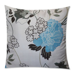 Vintage Maya - Lyon Silk Pillow Cover - Ah, springtime in bloom. A silk pillow in a floral pattern is the height of sophistication. Inspired by Persian floral design, this potent pattern will pop on a simple sofa or a blank white bedspread.
