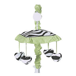 Sweet Jojo Designs - Green Zebra Crib Mobile - The Green Zebra musical crib mobile set will help complete the look of your Sweet Jojo Designs nursery. This set includes a musical mobile frame, canopy with hanging toys, and matching arm sleeve cover. The wind-up mobile spins and plays Brahms's lullaby. Please note the plastic mobile clamp fits standard rails up to 2 3/4 in. wide. Non-standard crib rails may be wider than 2 3/4 in. and may not work with these mobile frames.