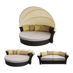 Outdoor Wicker Patio Furniture Canopy Day Beds -  Martinique Canopy Bed | Brown - 1- Canopy Sofa w/Adjustable Canopy & Hide-A-Way Bed Option (Brown Wicker)