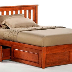 Night & Day Furniture - Rosemary Platform Bed in Cherry w Storage Dra - Bed includes headboard, footboard, rail, slat and storage drawer. 100% Malaysian Rubberwood construction. Warranty: 10 years. Cherry finishBed dimensions:. Twin Headboard: 41.3 in. W x 44.7 in. L (22 lbs.). Twin Footboard: 16.3 in. W x 42.4 in. L (11 lbs.). Overall: 76 in. L x 44.7 in. WHave you ever noticed that rosemary will grow nearly anywhere, in nearly any environment? And it adds great taste to whatever it's combined with. That's one attractive, tough and versatile ingredient. Similarities to our Rosemary bed are absolutely striking.