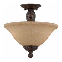 Triarch - Triarch Jewelry Jewelry Semi Flush X-14413 - The Jewelry Collection Semi-Flush Mount Convertible in Harvest Bronze with Mosaic Glass Accents for a touch of class: This can also be hung as a Pendant
