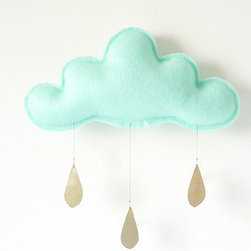 Cloud Mobile, Mint With Gold Raindrops by The Butter Flying - Clouds and raindrops are super trendy right now, and The Butter Flying makes the prettiest rain cloud mobiles. This one would be so great above baby's crib.