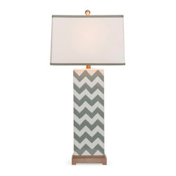 Chandler Grey Chevron Table Lamp - *In a grey chevron pattern, this ceramic table lamp is a great lighting accessory to add modern style to any home.