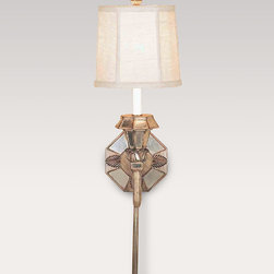 Old World Design Llc Mirrored Sconce with Linen Shade -