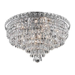 "PWG Lighting / Lighting By Pecaso - Karci 8-Light 18"" Crystal Flush Mount 2148F18C-RC - The Karci Collection is as serene as its namesake. Layers of cascading crystal form this series of Crystal Chandeliers and Crystal Flush Mounts. Quietly and graceful this design to work in a wide range of decorating styles."