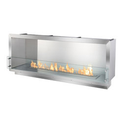"IGNIS - Ignis Bio Ethanol Fireplace Insert FB4800-S Firebox - Single-sided, the FB4800-S is an ethanol firebox idyllic for use in a commercial or large residential setting. In demand by those in the hospitality industry, this ethanol fireplace insert boasts a linear flame stretching over 43"" in length befitting the most upscale spaces. A warm invitation into a business or home, this fire box uses the popular Ignis EB4800 Ethanol Burner. Composed of grade 304 polished stainless steel, which is known for its durability and high-heat competency, this ethanol fireplace insert box offers double wall construction, using stainless steel of 3mm width. Supplementing its level of protection, the fireplace insert is insulated with a patented rock wool insulation, resulting in heat resistance and a higher level of safety than competing brands. When creating this supreme-quality zero clearance ethanol fire box, the end-users' ease of operation and the installers' ease of build-in were considered first. For easy installation, simply use surrounding flange to build the firebox into the wall, existing fireplace enclosure or custom case good. Because this fireplace is powered by clean burning bio ethanol fuel, there is no need to install a chimney, flue nor an expensive and bulky venting system. The FB4800-S Ethanol Fire Box offers the perfect stage on which the long bed of flames can play, dance and entertain. The stainless steel construction makes the assist, reflecting the wonder of the fire on its surface. The result is a stunning display that will evoke emotion, thought and conversation no matter its locale. This firebox is assembled manually and made using patented technology that is proprietary to the Ignis Development."