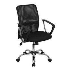 Flash Furniture - Black Mesh Computer Task Chair w Chrome Base - Ergonomically curved back. Open air mesh back. Lumbar support. Black, textured nylon arms. Thick, foam padded mesh seat. Spring tilt control mechanism. Pneumatic seat height adjustment. Tilt tension control. Chrome finished gas lift and base. Dual wheel nylon casters. Warranty: 2 years limited. No assembly required. Back: 17.5 in. W x 19.5 in. H. Seat: 19 in. W x 18.75 in. D. Seat Height: 18.75 - 22.5 in.. Arm Height from Floor: 26.5 - 30.25 in.. Arm Height from Seat: 8 in.. Overall: 24 in. W x 23 in. D x 37 - 40.75 in. H (31 lbs.)
