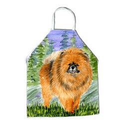 Caroline's Treasures - Pomeranian Apron SS8459APRON - Apron, Bib Style, 27 in H x 31 in W; 100 percent  Ultra Spun Poly, White, braided nylon tie straps, sewn cloth neckband. These bib style aprons are not just for cooking - they are also great for cleaning, gardening, art projects, and other activities, too!