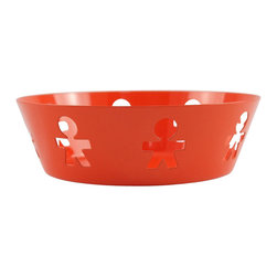 "Alessi - Alessi ""Girotondo"" Basket Small - The international icon for kids encircles this small basket creating a delightful, upbeat place to store your precious things. Leave your keys, fruit or other sundries in this colorful steel bowl designed by King-Kong."
