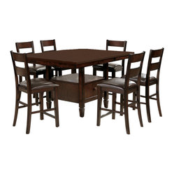 Steve Silver Gibson 9 Piece 48 Inch Square Counter Height Set w/ Chairs in Espre