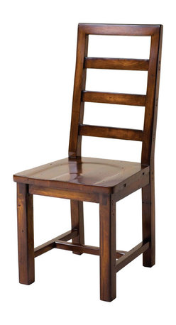 """Four Hands - Eco-friendly Solid Wood Ladderback Dining Chair - Sometimes the classics are the best when you want quality and staying power. This ladderback dining chair is crafted from solid reclaimed wood that""""s held together, not by nails, but by mortise and tenon joinery. The ladderback is squared off at the top and the seat is shaped for comfort. Square legs are made even stronger with an H-shaped stretcher. Overall finish is as warm as a Jamaican Sunset."""