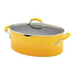Rachael Ray Porcelain II Nonstick 8 qt. Covered Oval Pasta Pot with Pour Spout - - Give your kitchen a gorgeous pop of color with the Rachael Ray Porcelain II Nonstick 8 qt. Covered Oval Pasta Pot with Pour Spout - Yellow Gradient. This smartly-shaped oval pan has a yellow gradient finish you'll love, a quality nonstick coating, and tight-fitting glass lid that lets you see the cooking process. Two colorful, matching silicone handles provide a comfortable grip and are oven-safe to 400 degrees F . A pouring lip on one side makes creating pasta dishes easier. Like many quality pans, hand washing is best and it is not recommended for use on ceramic or glass top stoves. Pasta in record time!About Rachael Ray Cookware and CutleryRachael Ray means fun, functional, colorful cookware and cutlery inspired and endorsed by the TV personality herself. Express yourself through your cookware with these truly unique pieces made with high-quality materials like cast iron and bright enamel exteriors. These hard-working pieces are perfect for all types of cooks, from casual home users to commercial chefs, and you'll love the way they look in your kitchen.